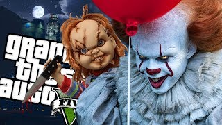 "The IT ""Pennywise"" Clown VS Childs Play ""Chucky"" MOD (GTA 5 PC Mods Gameplay)"