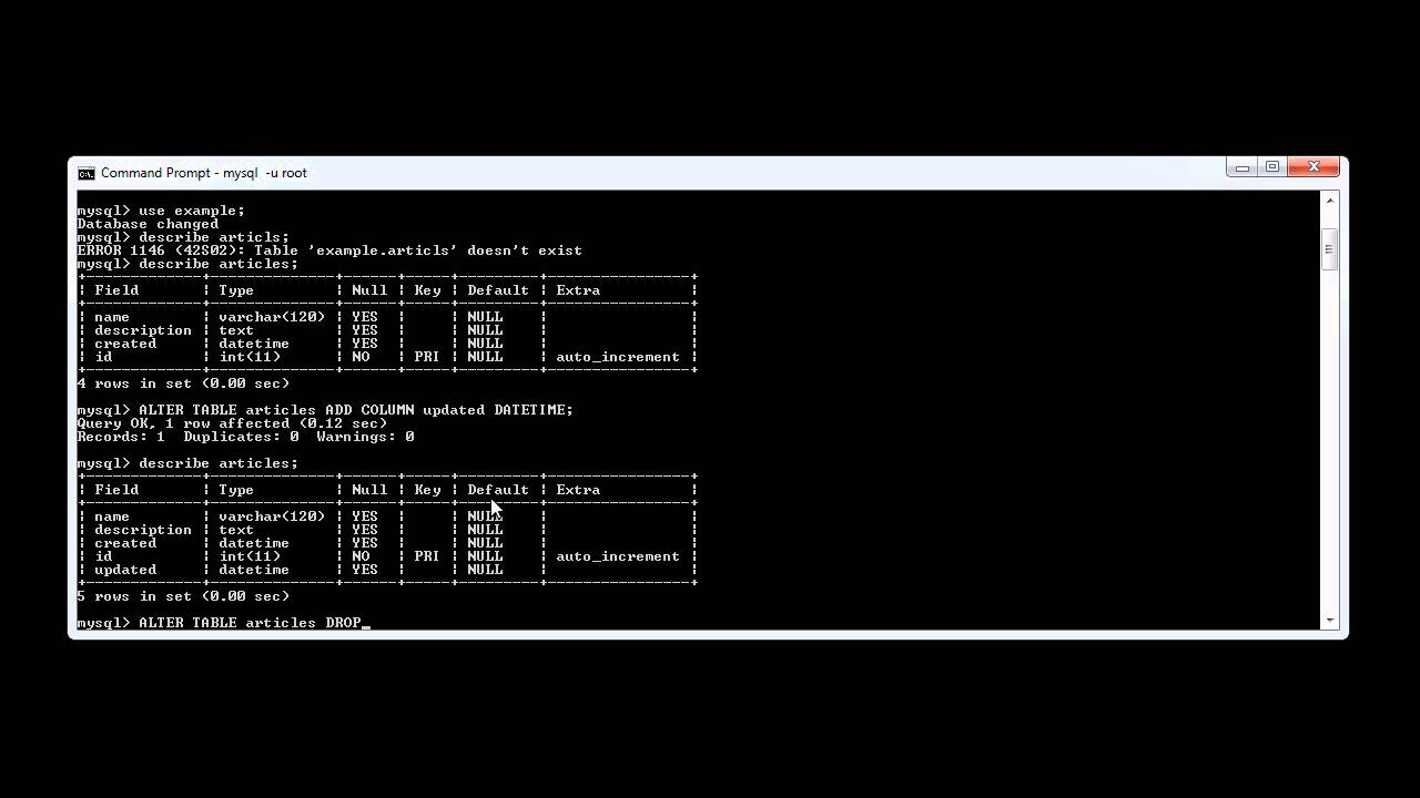MySQL: Removing Table Columns - YouTube