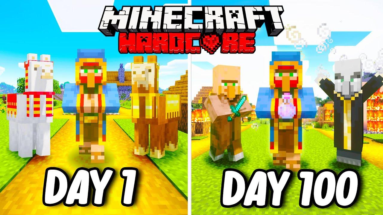 I Survived 100 Days as a WANDERING TRADER in Hardcore Minecraft... Minecraft Hardcore 100 Days
