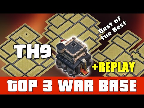 Clash Of Clans - TOP 3 TH9 WAR BASE (JULY) + REPLAY ♦ Town Hall 9 Anti-Valkyrie/Queen Walk