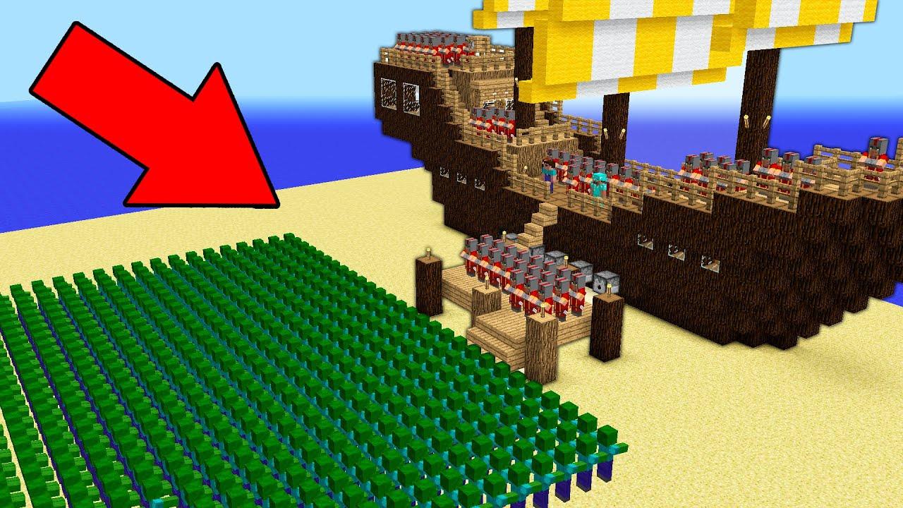 Minecraft Battle INFINITE ZOMBIES Attack Noob vs Pro Villager's Ship