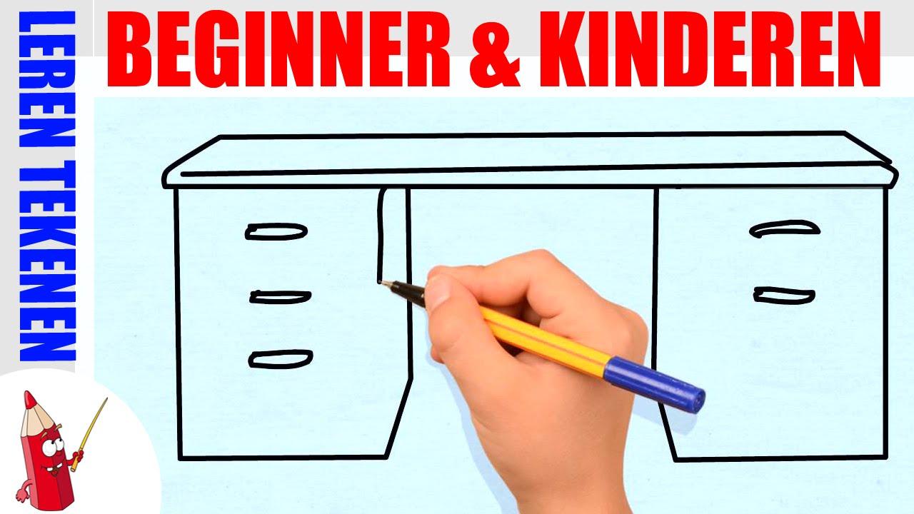 Bureau tekenen in 60s leren tekenen voor beginners en kinderen deel 65 youtube - Hoe je een eigentijdse inrichting van ...