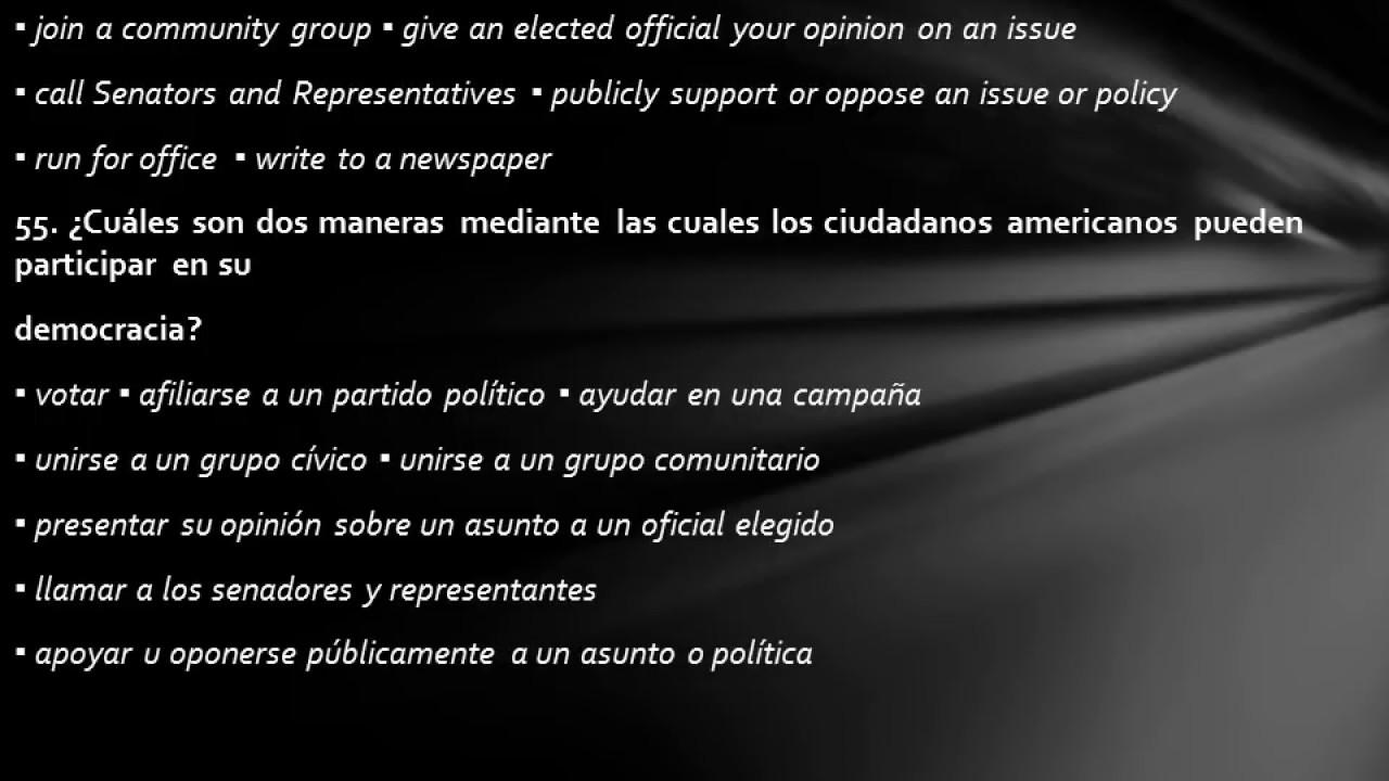 La 100 preguntas de ciudadania en espanol