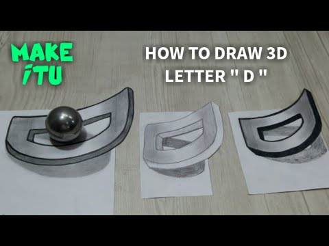 Easy Trick Art Drawing / How to Draw 3D Letter D / Anamorphic Illusion with Pencil