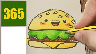 HOW TO DRAW A HAMBURGER CUTE, Easy step by step drawing lessons for kids