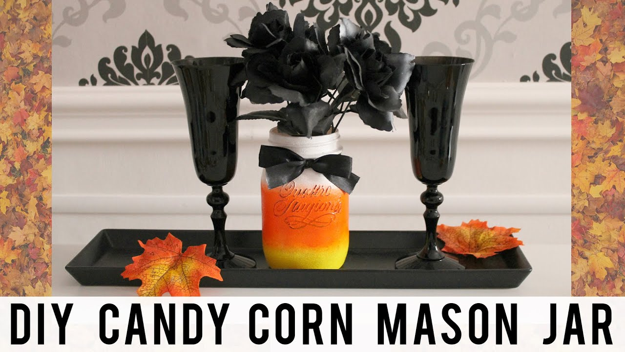 diy fall halloween room decor candy corn mason jar pinterest made easy youtube. Black Bedroom Furniture Sets. Home Design Ideas