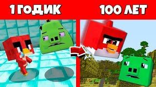 Как Ред из Angry Birds 2 прожил жизнь в Майнкрафт : Эволюция Мобов 1 годик 100 лет Как менялся Цикл