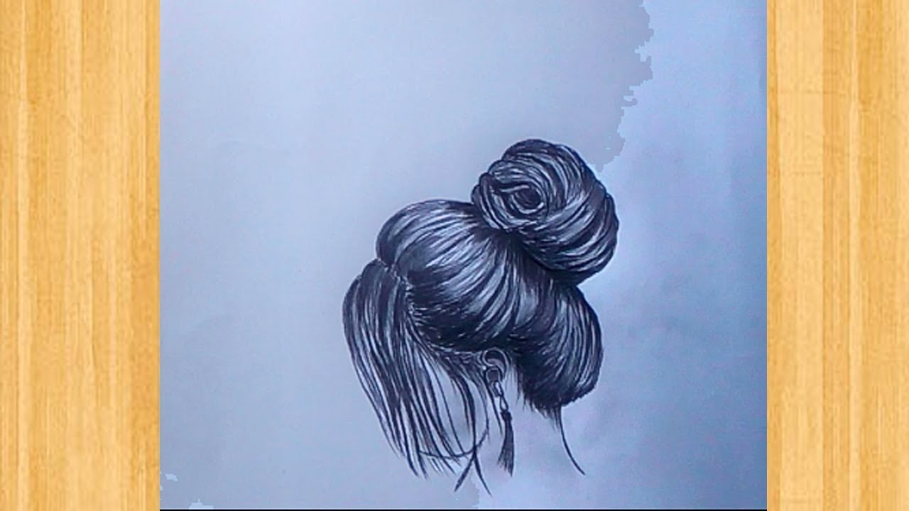 How to draw a smart girl with hair / pencil sketch drawing #1