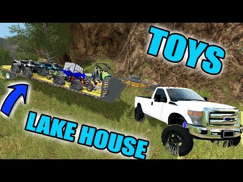FARMING SIMULATOR 2017 | MEGA TRAILER LOAD OF TOYS HAULING TO THE LAKE HOUSE!