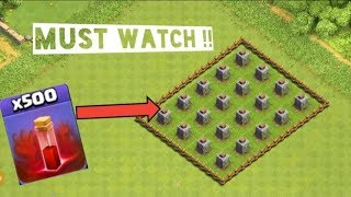 500 SKELETON SPELL V/S 20 CRUSHER CLASH OF CLANS | COC |