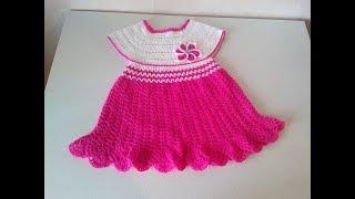 Платье крючком с квадратной кокеткой. От 0- 5 лет. Часть1