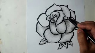 How to Draw A Rose || Charcoal Drawing and Shading