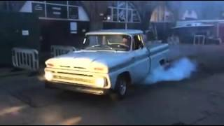 Chevy c10 burnout burning rubber lt1 powered!!