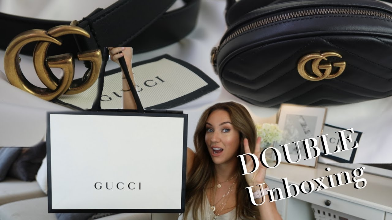 6769111a8fb8 DOUBLE GUCCI Unboxing GG Belt and Marmont Bag | Lisa Gregory - YouTube