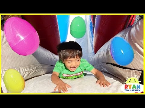 Thumbnail: HUGE EGGS SURPRISE TOYS CHALLENGE for kids inflatable slides Disney Cars Superhero toys