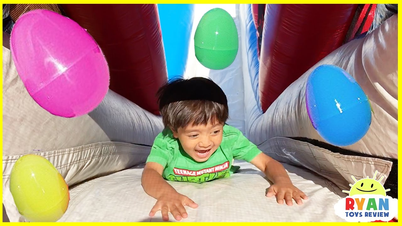 Huge Eggs Surprise Toys Challenge For Kids On Inflatable