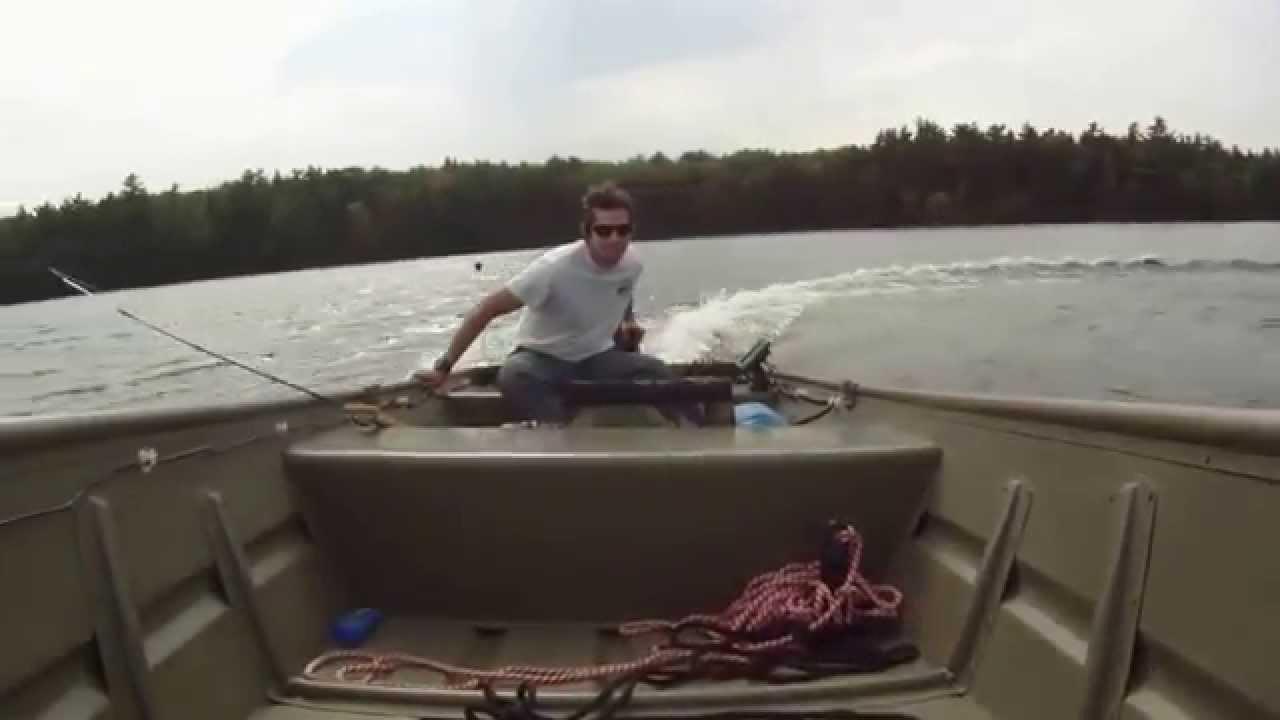 Tracker 1436 Jon Boat with Johnson 15hp Outboard - YouTube