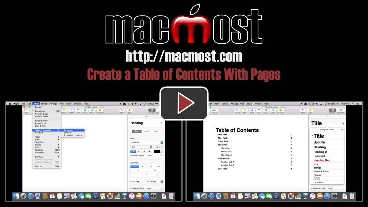 how to create a contents page