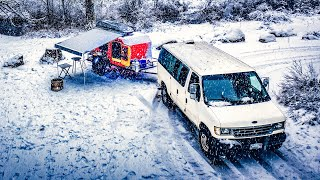 Winter Camping - Van life - Sasquatch first time in Snow