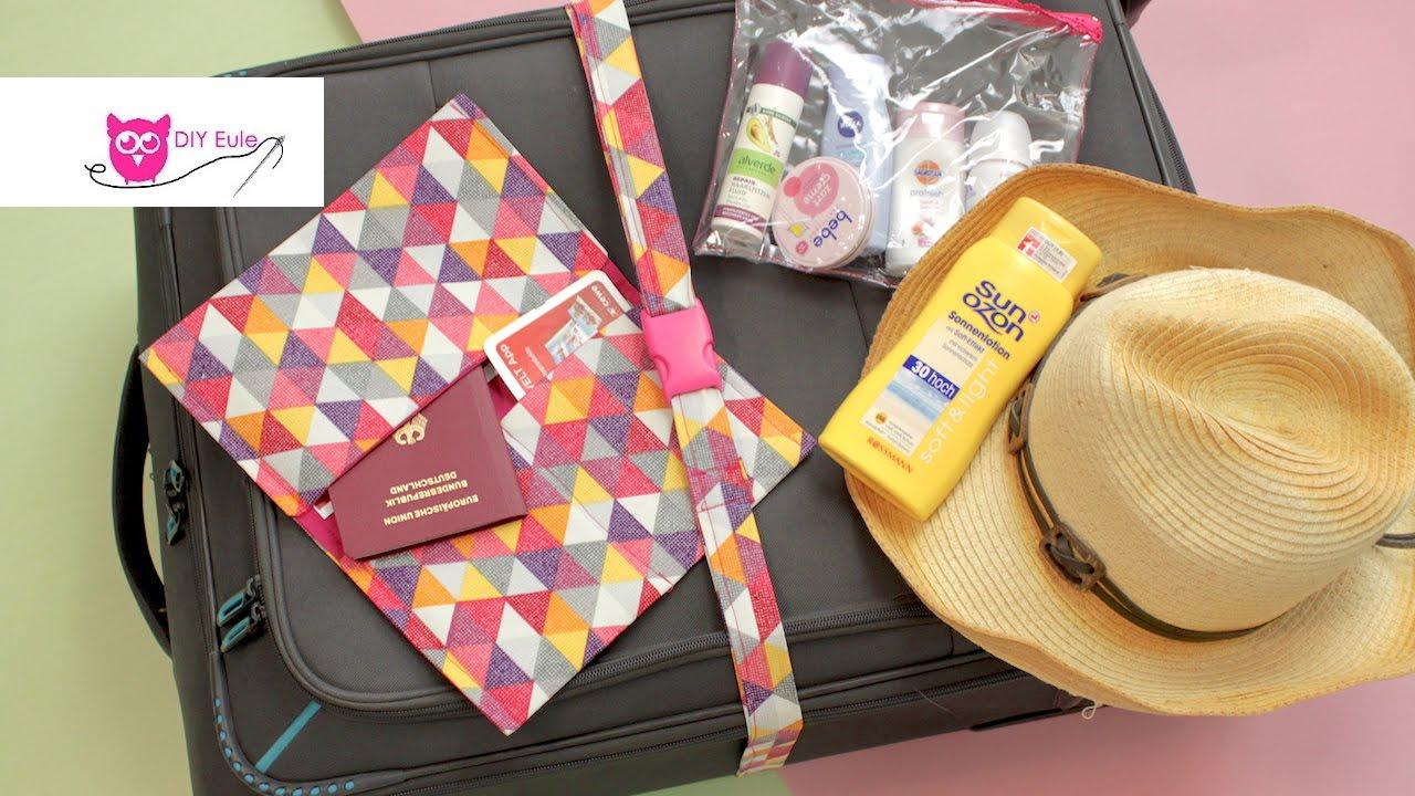 Reise-Set nähen: Kofferband, Flüssigkeitenbeutel ...