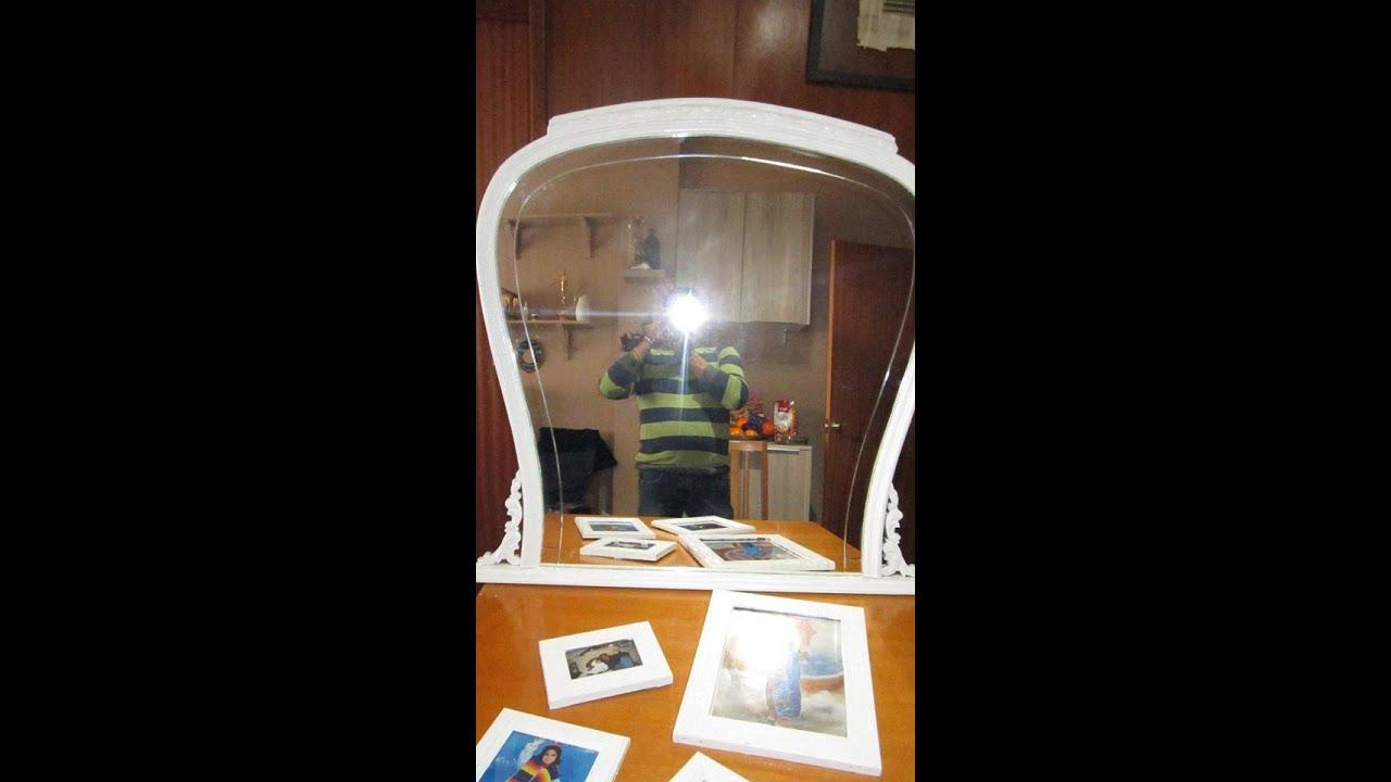 Reciclando espejos antiguos con marco de madera youtube for Como hacer un espejo con marco de madera