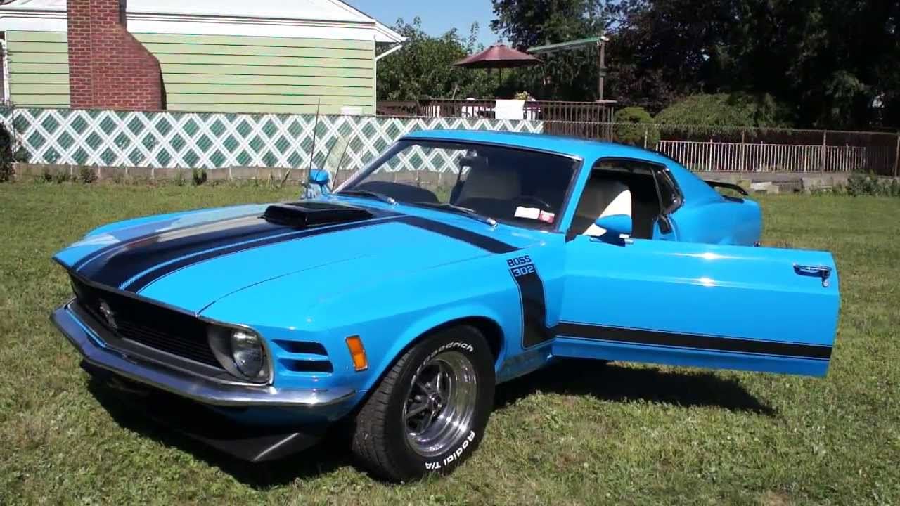 1970 ford mustang boss 302 for sale matching motor 4 speed grabber blue white new paint. Black Bedroom Furniture Sets. Home Design Ideas