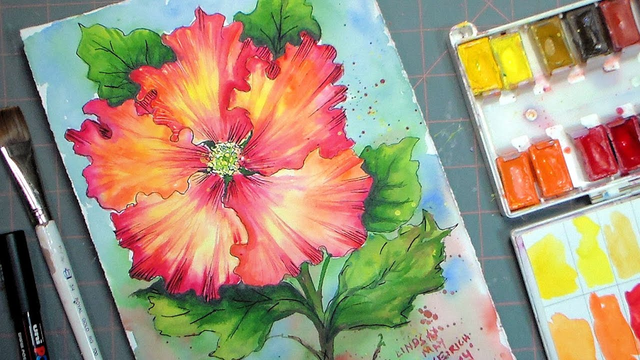 Hibiscus watercolor painting tutorial youtube hibiscus watercolor painting tutorial izmirmasajfo