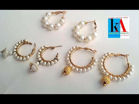 How to make Designer ring model earrings with small pearls // hook earrings making at home
