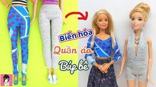 Biến hóa quần thun thành 2 kiểu đồ mới cho búp bê / DIY Barbie Clothes Life Hacks / Ami DIY