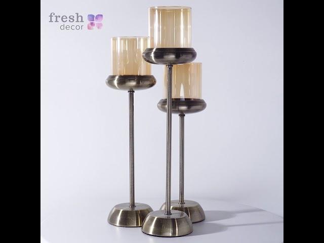 Подсвечники на одну свечу с золотым стеклянным плафоном и металлическим основанием на тонкой ножке