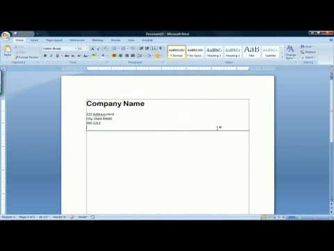 How to Create a Letterhead in Microsoft Word 2007 - YouTube