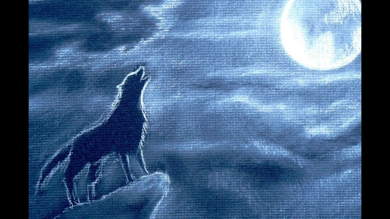 How To Draw A Howling Wolf  How To Draw Night Clouds With Full Moon   Youtube