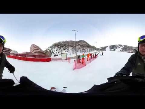 Skiing in North Korea - Ricoh Theta S - 360° footage