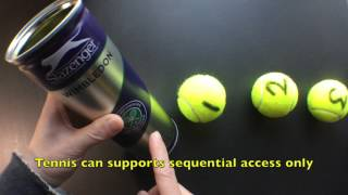 Sequential Access vs Direct Access (Tennis ball analogy)