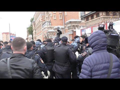 Разгон акции протеста исламских радикалов против Макрона. Москва, Б.Якиманка, посольство Франции.