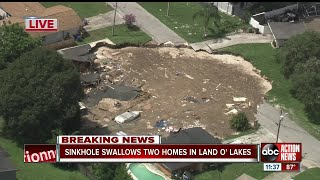 Sinkhole swallows 2 homes in Land O' Lakes, officials provide update thumbnail