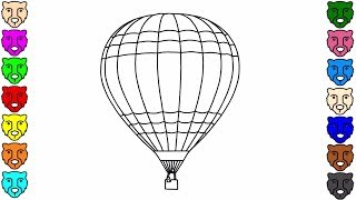 Air Balloon Coloring Pages - Colorful Balloons Coloring Pages | Learn Colors and Drawing for Kids