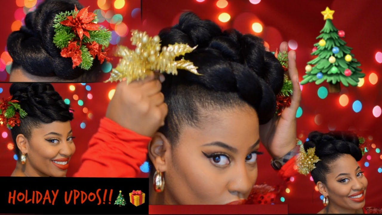 Christmas Hairstyles For Black Hair.Hairstyle Updos For Natural And Relaxed Hair Christmas Edition