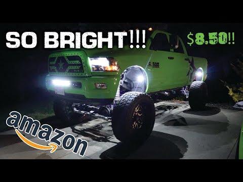 I PUT $8.50 ROCK LIGHTS ON MY SEMA TRUCK!!!! ($8.50 vs $71 Rock Light Comparison)