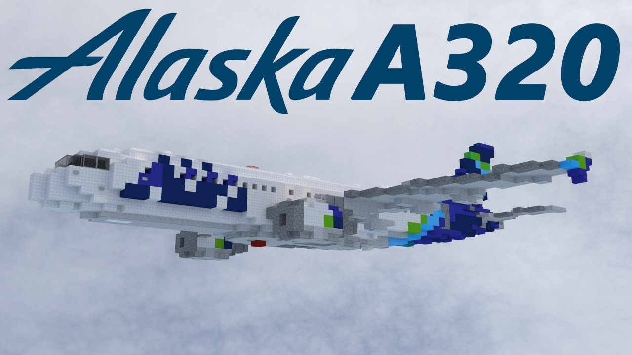 Alaska Airlines Airbus A320 Painting Timelapse Minecraft