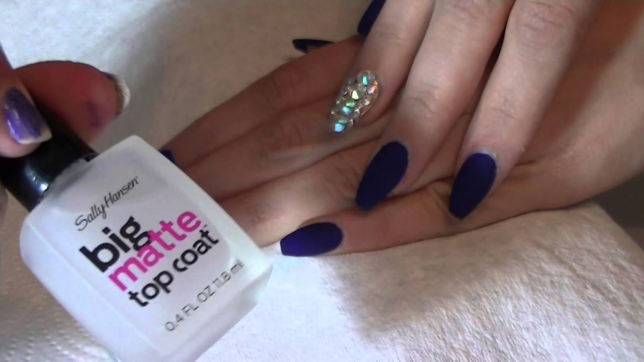 navy blue matte ballet shape & golden bling finger - youtube