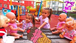 Беби Бон НАСТЯ и ПУПСИК БЬЯНКА играют и кушают МОРОЖЕНОЕ  Как Мама Играем в дочки матери