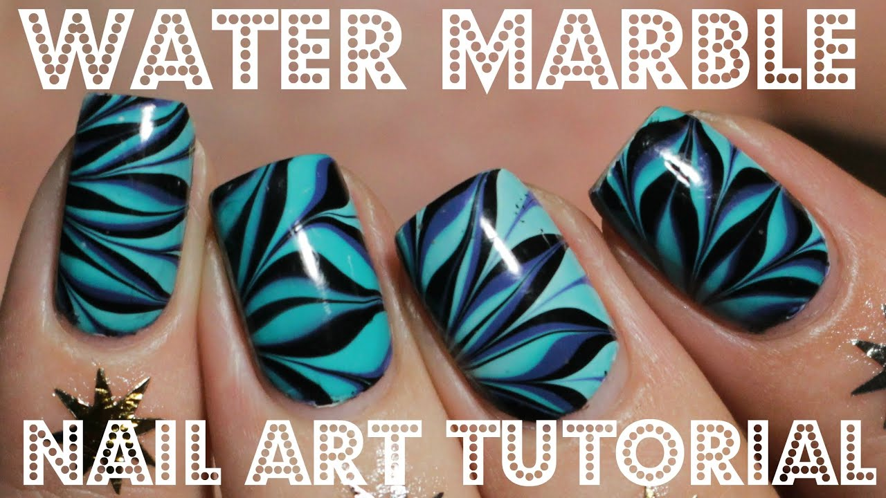 Nail Art Tutorial How To Water Marble Blue Nails Youtube