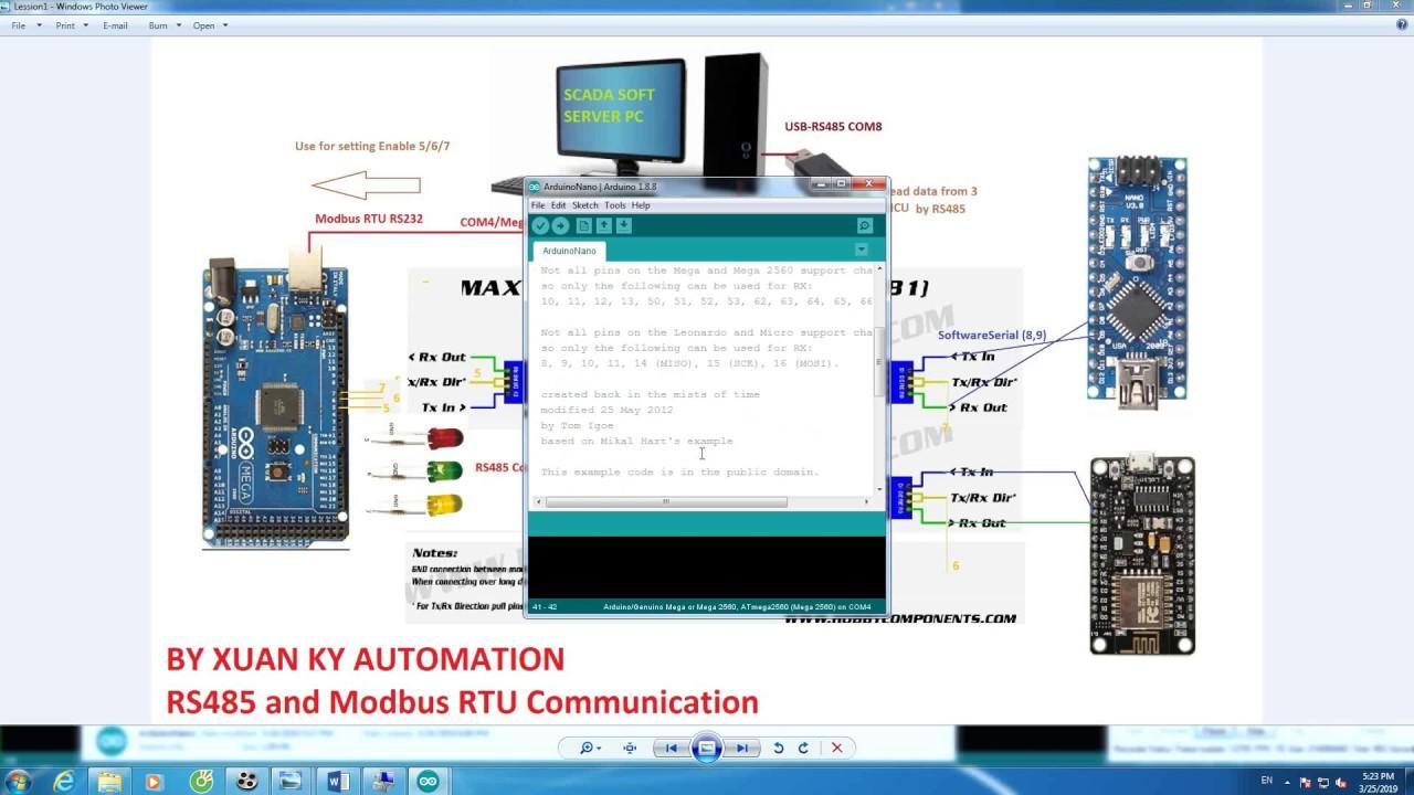 Learning RS485 and modbus RTU RS232 arduino Mega2560 ( Thế nào là truyền  thông RS485 qua arduino)