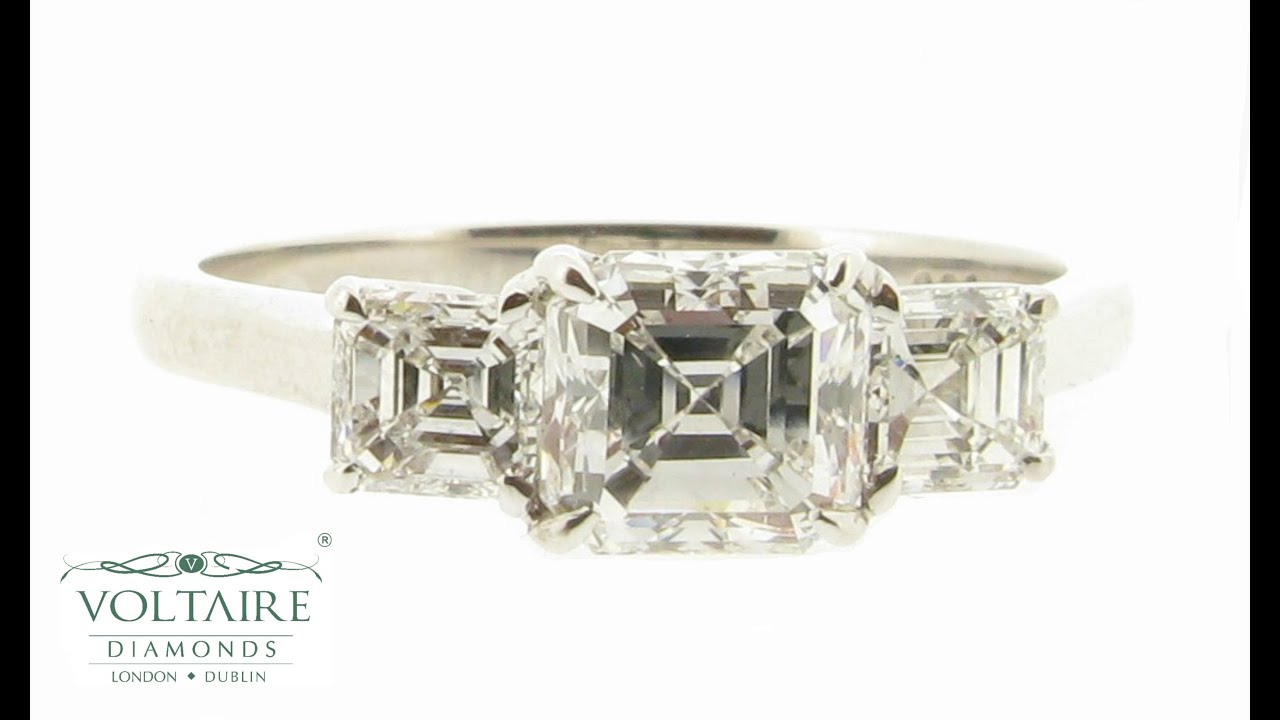 cut three nicole diamond jewellery nm product stone ring engagement asscher rings mera trapezoid