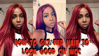 HOW TO GET BRIGHT RED HAIR TO LOOK GOOD ON DARK SKIN| FT YIROO HAIR
