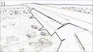 FSX Landing - Dublin, Ireland B767 Drawing Animation
