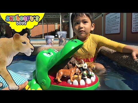 Thumbnail: Animals in CROCODILE Boat | Takara Tomy animal toys for kids with panda, lion, tiger, bear