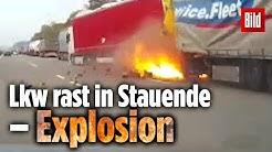 Lkw rast in Stauende –Explosion! Eine Dashcam filmte alles mit
