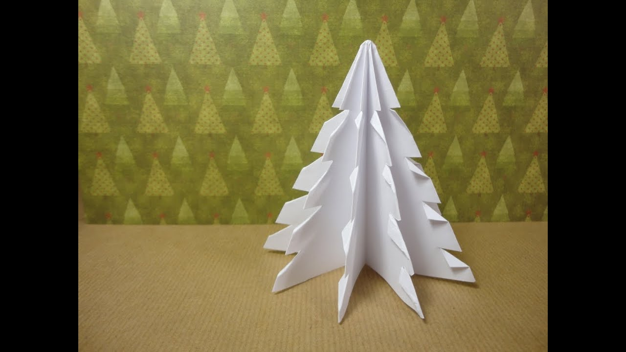 How to make a 3d paper xmas tree diy tutorial youtube - Comment faire un petit sapin en carton ...